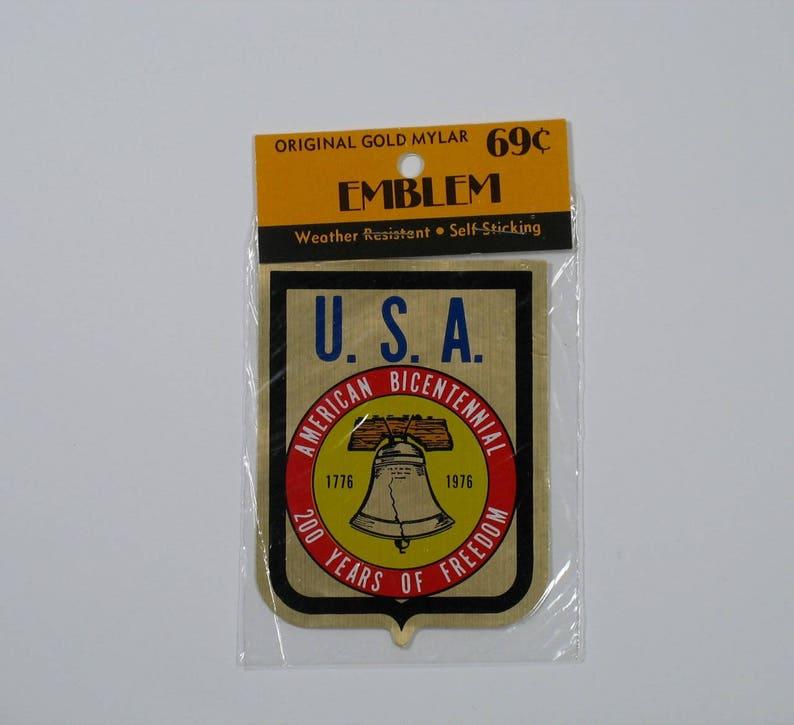 Vintage 70s Gold Mylar Sticker Decal American Bicentennial Sealed metallic  foil travel tourist souvenir decor unused 1776 1976 mcm liberty