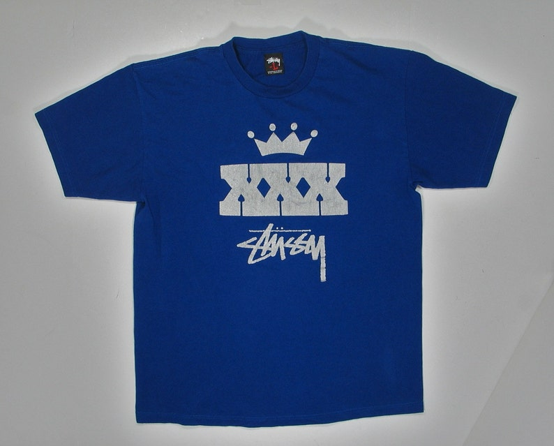 dd74ed7f Vintage 90s Stussy T Shirt Blue Silver logo crown XXX Large | Etsy