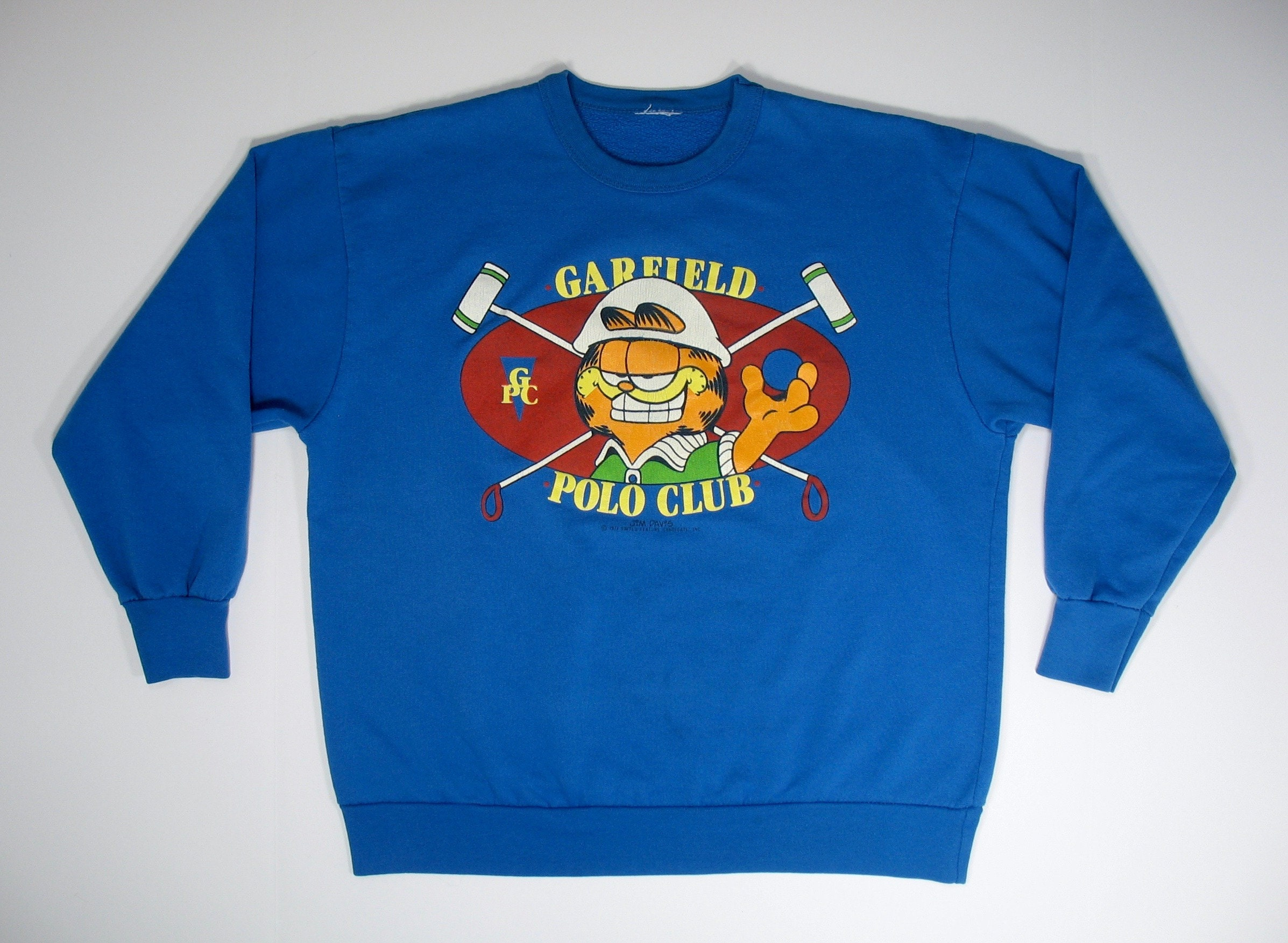 Vintage Garfield Sweatshirt Polo Club Medium 70s 80s Comic Strip Cat blue Rare cartoon funny cute sport 50 50 soft odie jim davis