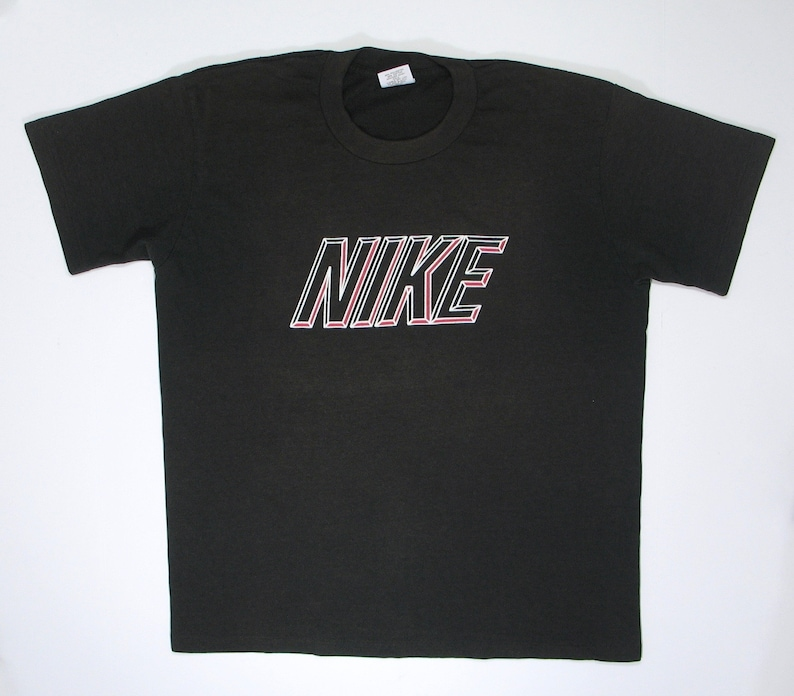 a6532c12fba98 Vintage Nike T Shirt 80s soft paper thin Black tee M gray tag sports  workout gym just do it hip hop stripes OR red logo swoosh check
