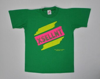 80s T Shirt Green soft paper thin tee XS neon pink hot punk hipster Pecan Valley Nut Company TX Texas 70s jerzees