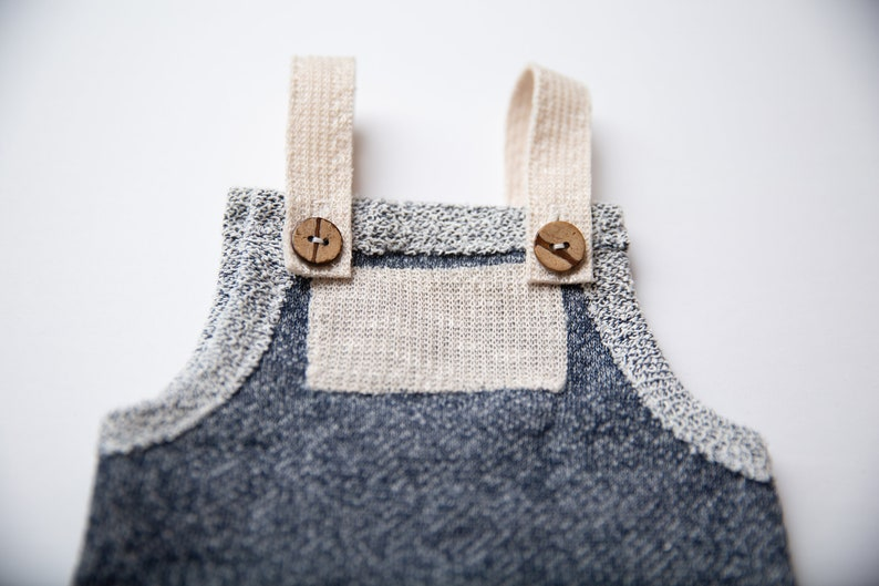 Newborn Boy Romper- Sawyer  Navy blue and tan newborn romper Newborn photo prop overalls Newborn boy photo outfit