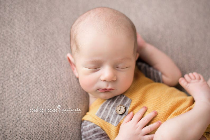 Newborn photo prop Newborn boy photo outfit Newborn Boy Romper- Eric  Mustard yellow and brown stripes romper baby outfit