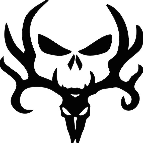 Deer Skull Hunter Deer Skeleton Head Vinyl Decal | Etsy