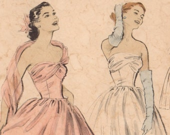 1940-50s Butterick Strapless Evening Gown Pattern with without Attached Stole