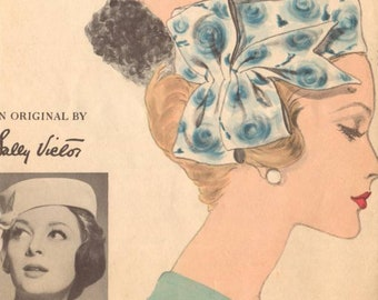 Vogue 1960 Sally Victor Hat Pattern with Swag (Original)