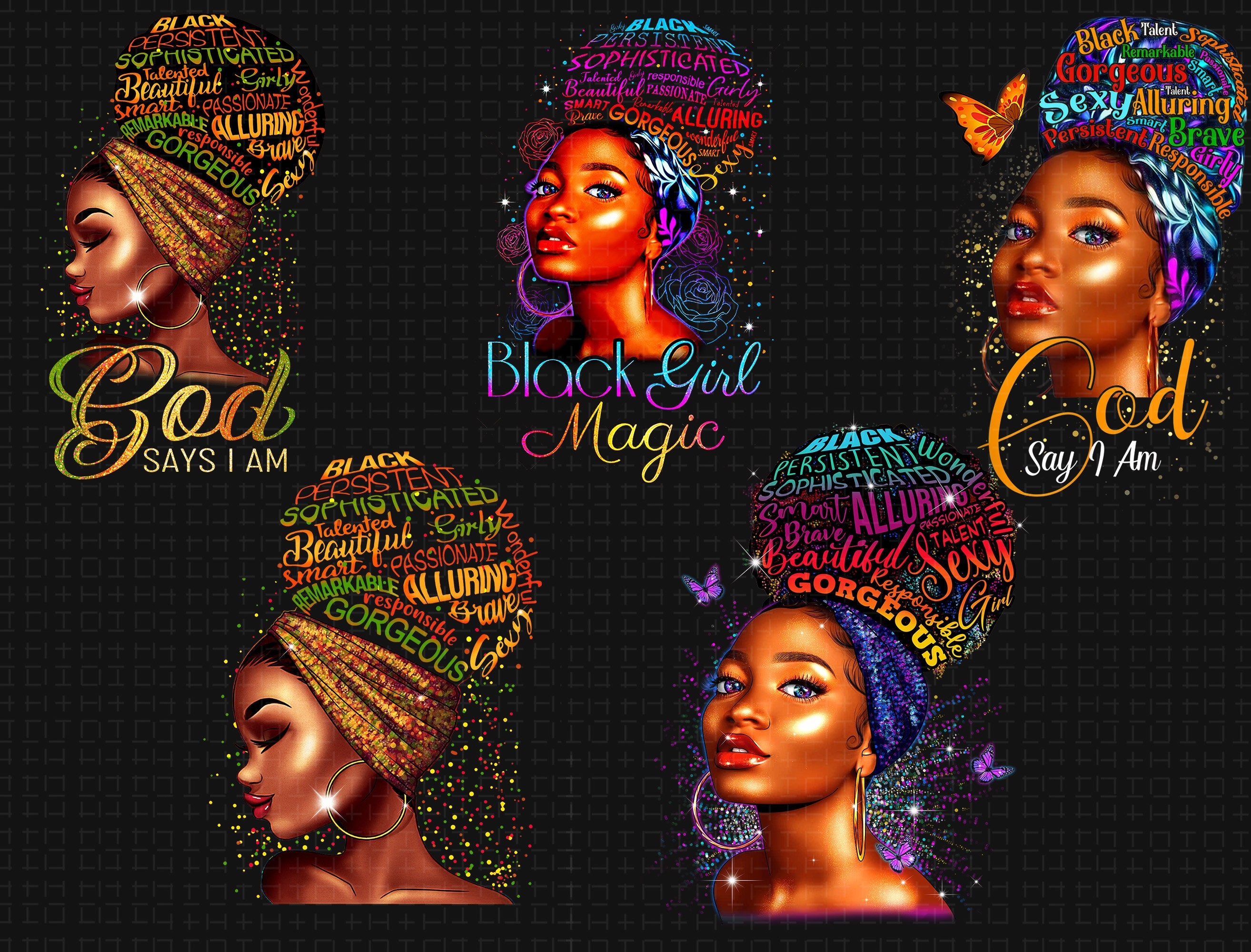 Just Blessed Black Girl Png, African American Girl Magic Png, Floral Melanin Afro Queen Png, Melanin Afro Girls Png, Beautiful Black Queen