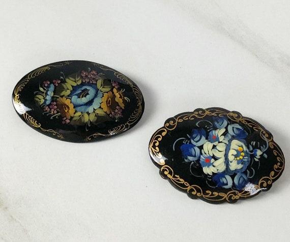 Russian Black Lacquer Brooch, Vintage Russian Folk