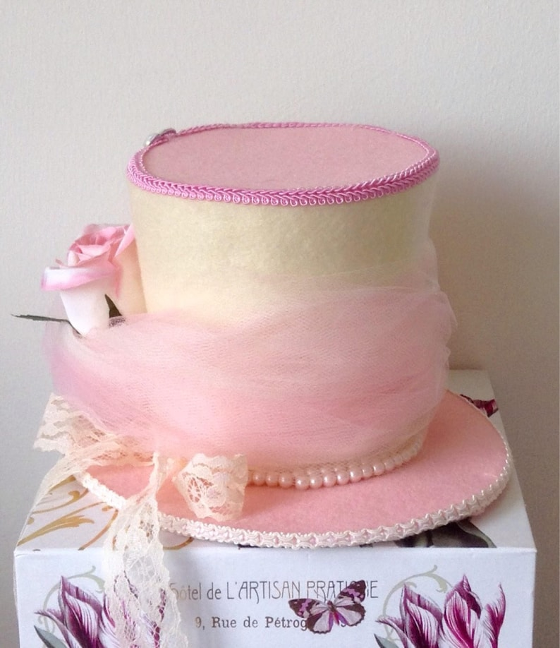 Pearls Pink /& Cream Felt Hat - Baby or Bridal Shower Mad Hatter Tea Party Decoration Alice in Wonderland Centerpiece Lace 5.5 Tall