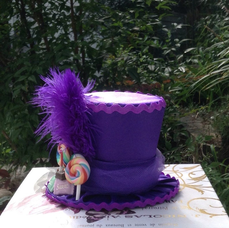 Willy Wonka Inspired Top Hat Fascinator with fake candy - 3.5 Tall Birthday Decorations - Mad Hatter Tea Party Hat in Purple Satin