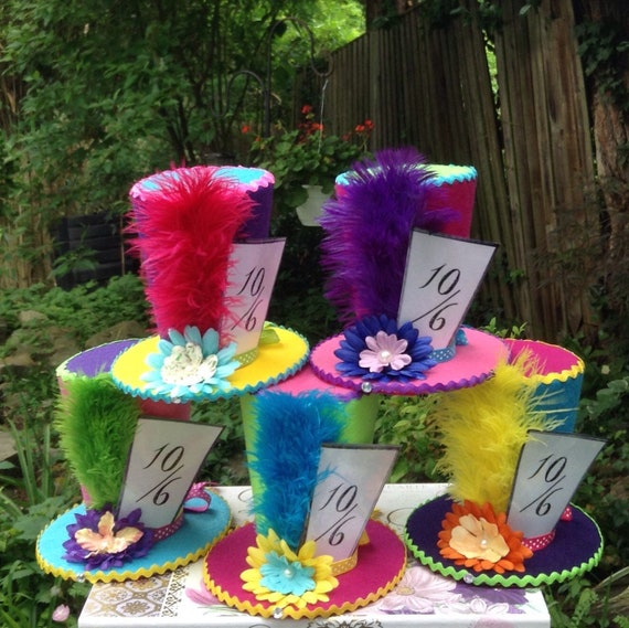 Set Of 5 Alice In Wonderland Centerpieces Mad Hatter Tea Etsy