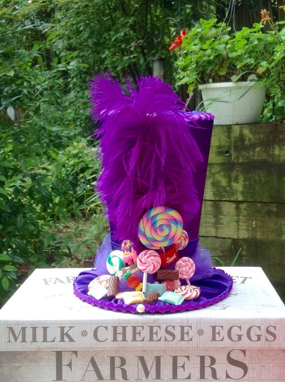 Candyland Chocolate Factory Christmas Party.7 5 Tall Willy Wonka Inspired Candyland Centerpiece With Fake Candy Mad Hatter Tea Party Top Hat In Purple Satin Birthday Decorations
