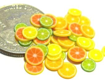 10pc Miniature dollhouse tiny lot Lemon fruit slices little food
