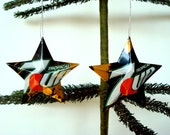 Recycled Tropical 7-Up Soda Can Aluminum Stars - 2 Christmas Ornaments or Gift Toppers