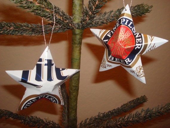 image 0 - Recycled Miller Lite Retro Beer Can Stars Set Of 2 Christmas Etsy