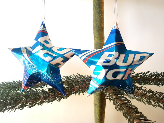 image 0 - Recycled Budweiser Bud Light Beer Can Ornaments Set Of 2 Etsy