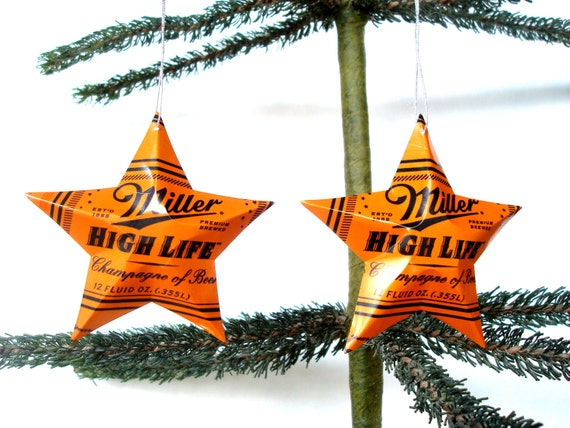 Recycled Orange Miller High Life Beer Can Ornaments Set of 2  8331339e781