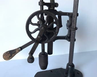 Reserved Mike Beasley Antique Drill Press Vintage Hand Crank Tool Industrial Cast Iron Wood And Gear Machinist