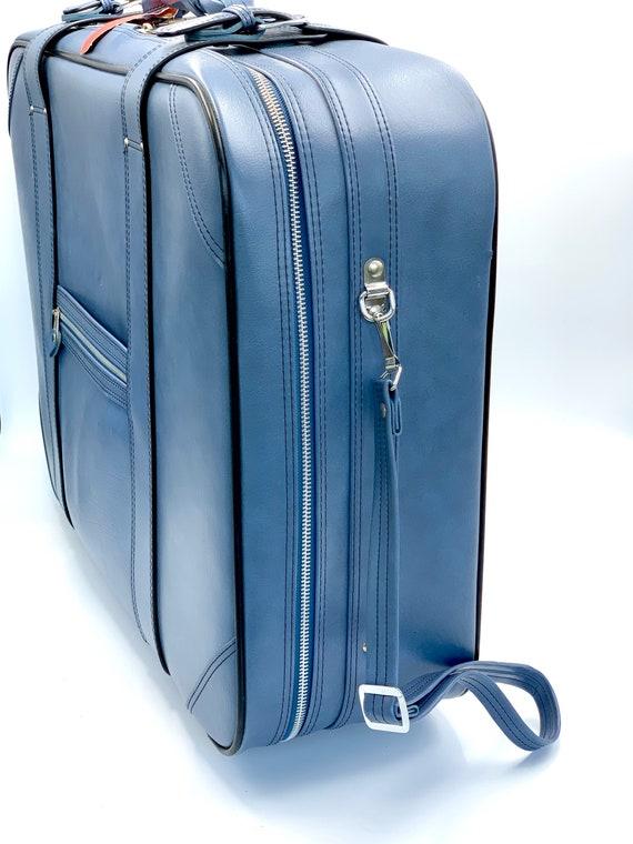 Suitcase, Vintage Blue Luggage, Rolling Luggage, L