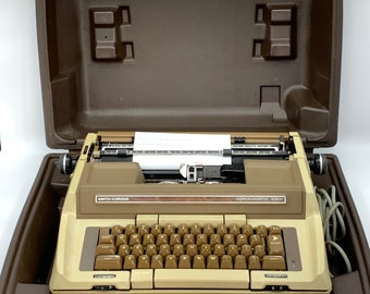 Typewriter, Smith Corona Coronamatic,  Deville Brown and Tan, Electric Typewriter  Home Office, Office Decor, Gift for Him