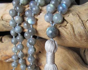 108 Bead Labradorite Mala, Hand Knotted Mala, Tassel Necklace, Long Necklace, Yoga Jewelry, Japa Mala, Meditation, Bohemian Necklace