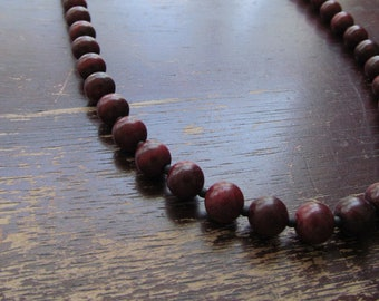 Men's Rosewood Necklace, Beaded Necklace, Mens Necklace, Beaded Rosewood, Long Necklace, Gift for Men, Layering Necklace, Mens Wood Necklace