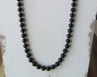 Mens Beaded Necklace, 8mm Matte Black Onyx Long Necklace for Men