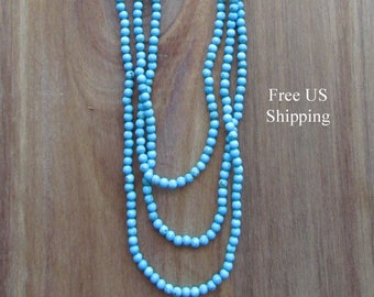 Turquoise Long Necklace, Long Beaded Necklace, Statement Necklace, Flapper Necklace, Boho Necklace, Everyday Necklace, Layering Necklace