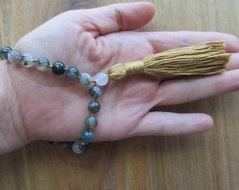 Moss Agate Mala Beads, 27 Bead Pocket Mala, Meditation Beads, Buddhist Prayer Beads, Japa Mala, Hand Knotted Mala, Yoga Mala, Yoga Jewelry