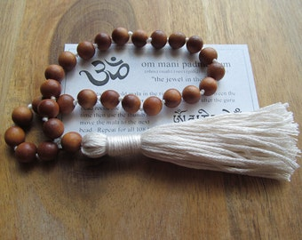 Sandalwood Mala Beads, 27 Bead Mala, Pocket Mala, Meditation Beads, Buddhist Prayer Beads, Japa Mala, Hand Knotted Mala, Small Yoga Mala