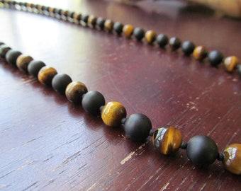 Alternative Jewelry Hematite Beads 10 MM Gift for Him Men/'s Matte Black Onyx 26\u201d Necklace