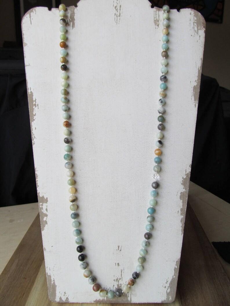 Prayer Beads Yoga Jewelry Long Beaded Necklace Meditation Beads Japa Mala Hand Knotted Mala No Tassel Amazonite Mala 108 Bead