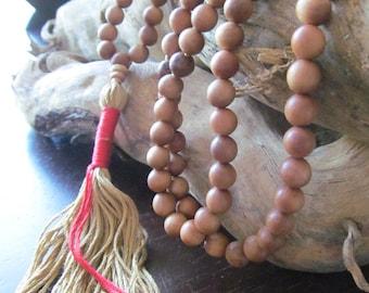 Mala Beads, Sandalwood and Obsidian, Traditional 108 Bead  Mala, Mala Necklace, Meditation Beads, Japa Mala, Yoga Jewelry, Long Necklace