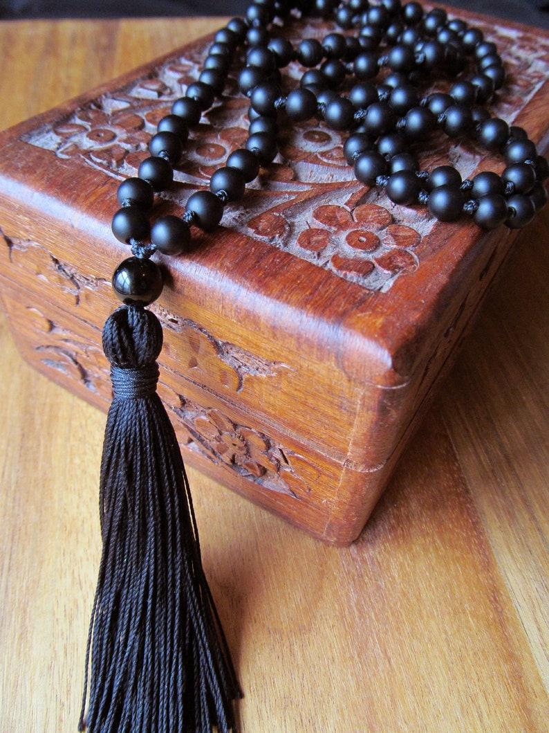 108 Bead Mala Traditional Hand Knotted Mala Beads Matte Black Onyx