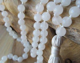 All White Mala, 108 Bead Snow Quartz Mala, Tassel Necklace, Yoga Jewelry, Prayer Beads, Beaded Mala Necklace, Meditation, Long Necklace