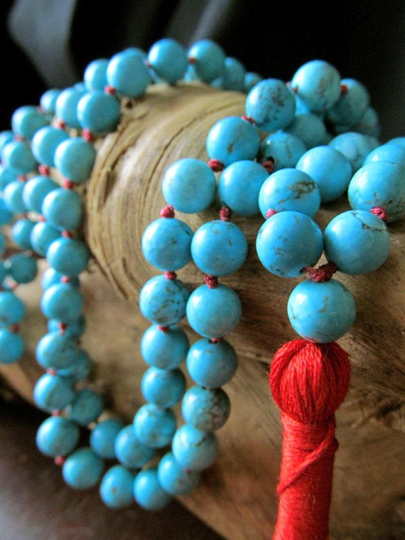 Turquoise Mala Beads 108 Mala Beads Turquoise Necklace Mala image 0
