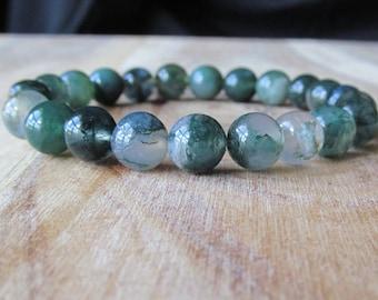8mm Moss Agate Bracelet, Natural Stone Bracelet, Gemstone Bracelet, Mens Bracelet, Yoga Jewelry, Mala Beads, Beaded Bracelet, Boho Bracelet