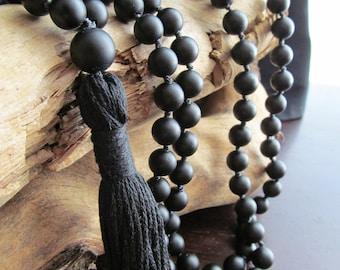 Black ONYX Mala Beads, 108 Bead Hand Knotted Matte Black Onyx, Japa Mala, Long Tassel Necklace