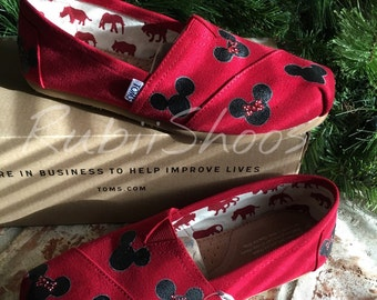 b3d2d629c68 Women s Mickey Mouse And Minnie Mouse Heads- Red Toms- Disney Shoes- Disney  Toms- Painted Shoes- Hand Painted- Toms-