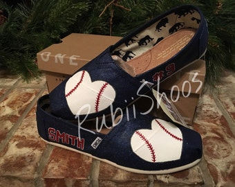 7c9dbaf567a RubiiShoos Original- Glittered Personalized Name Number and heart shaped  Baseball on Navy TOMS- Navy glitter- baseball mom- baseball lover