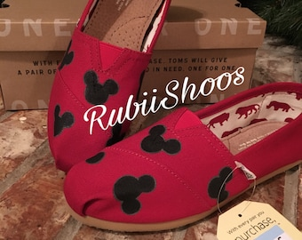 d371de885c8 Women s Mickey Mouse Heads- Red Toms- Disney Shoes- Disney Toms- Painted  Shoes- Hand Painted- Toms-