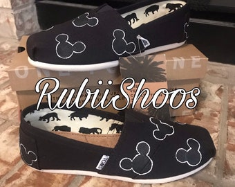 cd46ee95 Women's Mickey Mouse Heads- black Toms- black and white-Disney Shoes- Disney  Toms- Painted Shoes- Hand Painted- Toms-