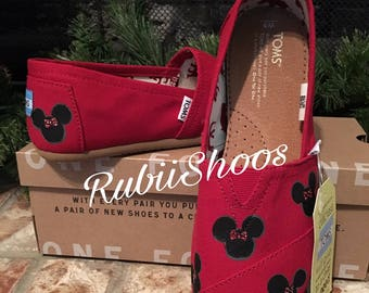 777705ff48d Women s Minnie Mouse Heads- Red Toms- Disney Shoes- Disney Toms- Painted  Shoes- Hand Painted- Toms-