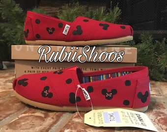 63c4c645be5 Women s polkadot Mickey Mouse And Minnie Mouse Heads- Red Toms- Disney Shoes-  Disney Toms- Painted Shoes- Hand Painted- Toms-