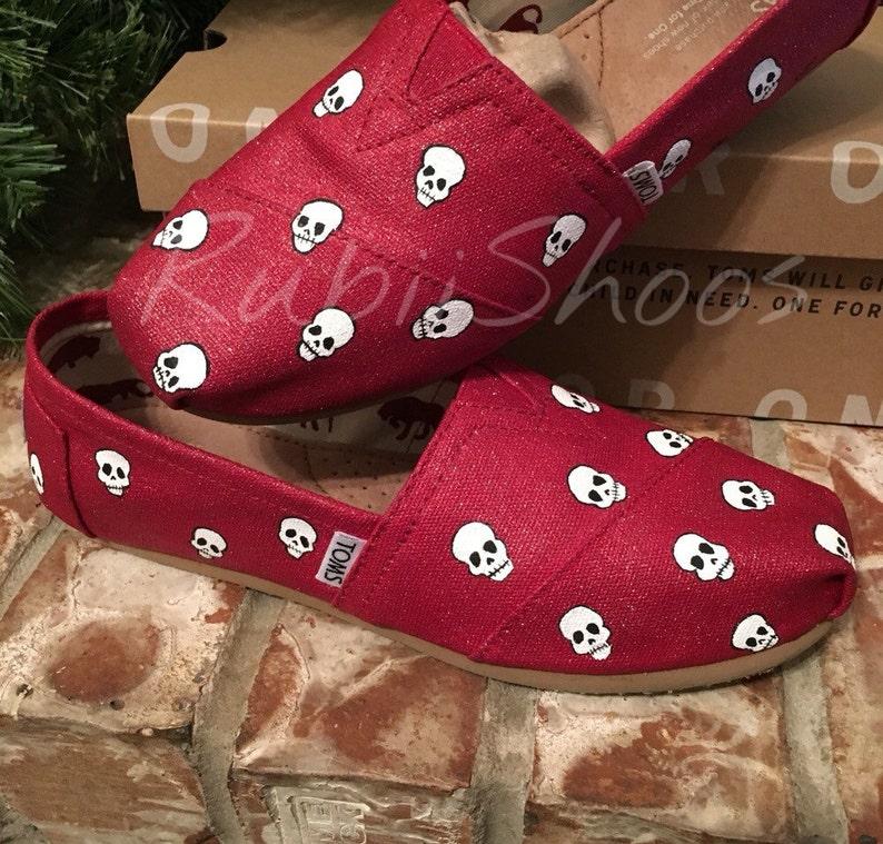 57a88c12335 RubiiShoos Original Red Glitter Glitter Toms Skull Toms