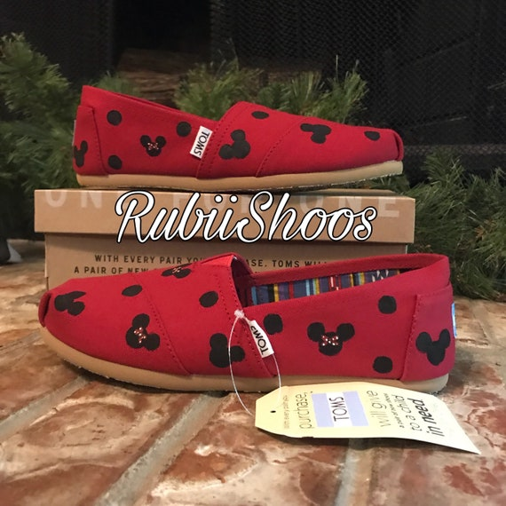 c21c3d797b9d0 Women's polkadot Mickey Mouse And Minnie Mouse Heads- Red Toms- Disney  Shoes- Disney Toms- Painted Shoes- Hand Painted- Toms-