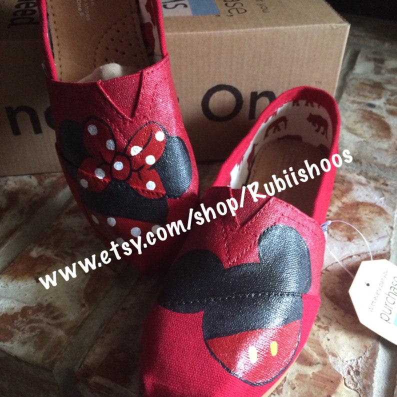 98238b162b3 Women s Toms- Red Glitter- Mickey And Minnie- Painted Toms- Red Toms-  Mickey Head- Minnie Head- Customs Shoes- Disney Shoes- Disney Toms