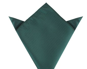 Forest Green Herringbone Pocket Square (M609-PS) Men's Wedding Handkerchief Groomsmen Men Hanky Hankie Squares Bridal Suit Mens