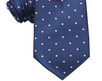60d18121beea Mens Tie 8.5CM Navy Blue Pink Polka Dots (X004-T85) Neck Ties Necktie Men  Neckties Wedding Formal Suit Classic Tux Australia Melbourne
