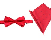 Matching Bow Tie + Pocket Square Combo Maroon w/ Polka Dots OTAA (X633-BT+PS) Men's Handkerchief + Bowtie Bowties Men Wedding Ties Squares
